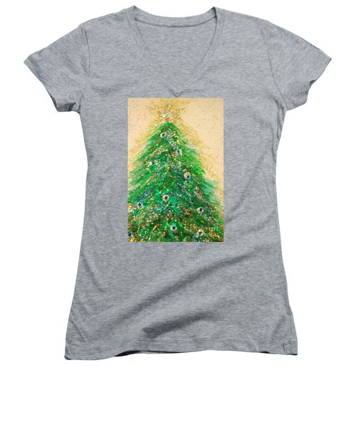 Christmas Tree Gold By Jrr Women's V-Neck (Athletic Fit)