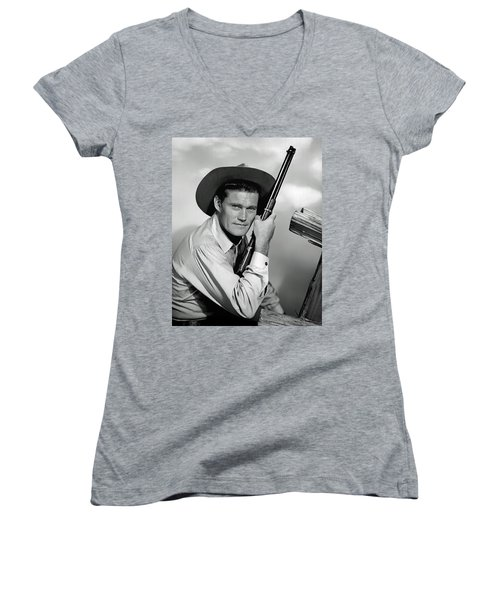 Chuck Connors - The Rifleman Women's V-Neck T-Shirt (Junior Cut) by Mountain Dreams