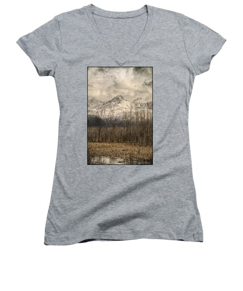 Chugach Mountains In Storm Women's V-Neck T-Shirt (Junior Cut)