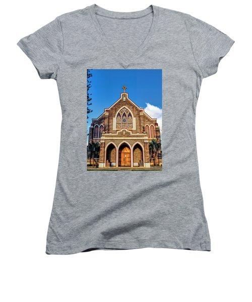 Women's V-Neck T-Shirt (Junior Cut) featuring the photograph Church 1 by Dawn Eshelman