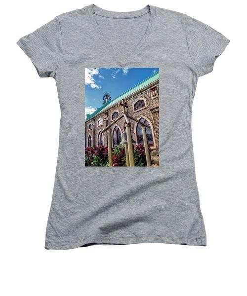 Women's V-Neck T-Shirt (Junior Cut) featuring the photograph Church 5 by Dawn Eshelman
