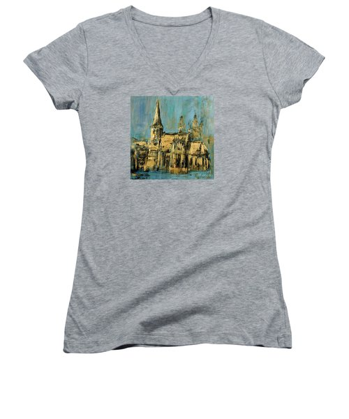 Women's V-Neck T-Shirt (Junior Cut) featuring the painting Church by Arturas Slapsys