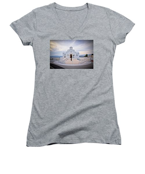 Church Of Croatian Martyrs In Udbina Women's V-Neck T-Shirt (Junior Cut) by Brch Photography