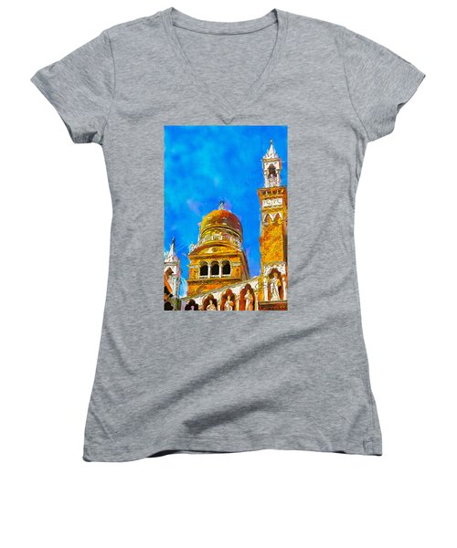 Women's V-Neck T-Shirt (Junior Cut) featuring the painting Church Of Madonna Dell'orto by Greg Collins