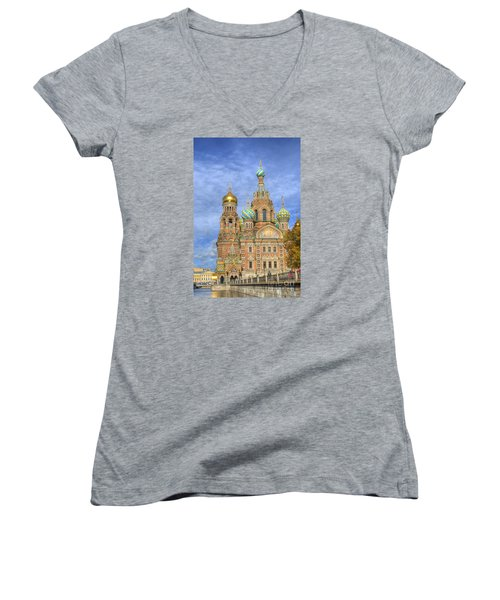 Church Of The Saviour On Spilled Blood. St. Petersburg. Russia Women's V-Neck T-Shirt