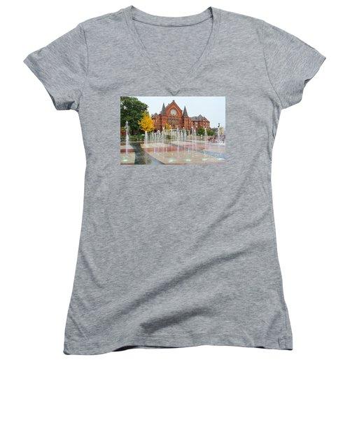 Cincinnati Music Hall 0001 Women's V-Neck T-Shirt
