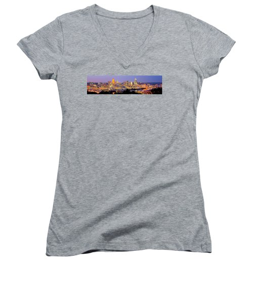 Cincinnati Skyline At Dusk Sunset Color Panorama Ohio Women's V-Neck T-Shirt