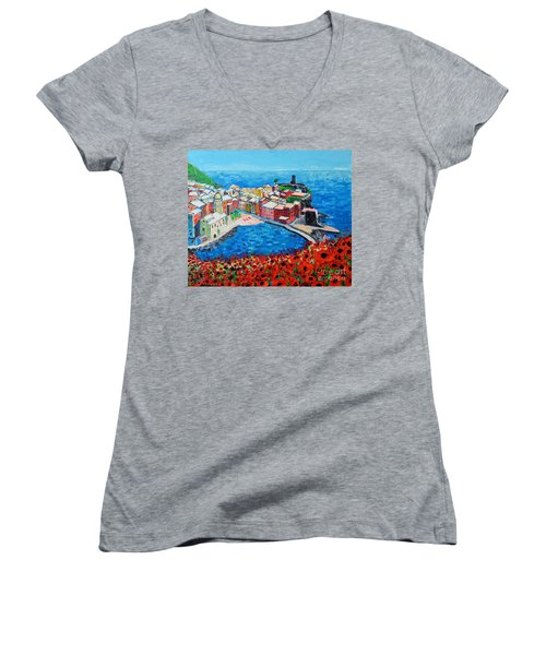 Cinque Terre Vernazza Poppies Women's V-Neck T-Shirt