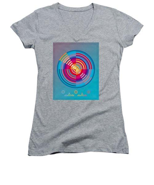 Circles Women's V-Neck T-Shirt (Junior Cut) by David Klaboe
