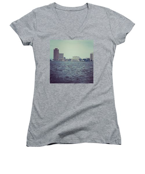 Women's V-Neck T-Shirt featuring the photograph City Across The Sea by Thomasina Durkay