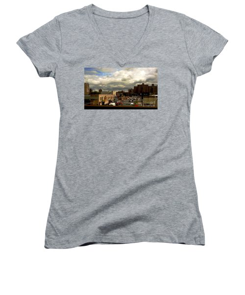 Women's V-Neck T-Shirt (Junior Cut) featuring the photograph City And Sky by Miriam Danar