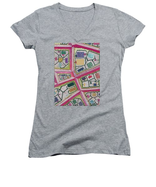 Women's V-Neck T-Shirt (Junior Cut) featuring the digital art City Circuits by Carol Jacobs