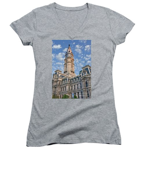 City Hall Clock Tower Downtown Phila Pa Women's V-Neck (Athletic Fit)
