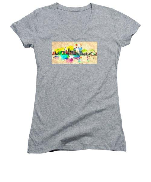 City Of Miami Grunge Women's V-Neck T-Shirt (Junior Cut)