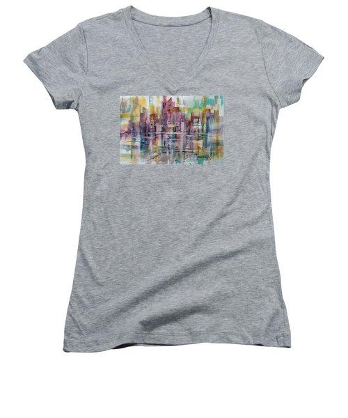 City Reflections Women's V-Neck T-Shirt (Junior Cut) by Debbie Lewis