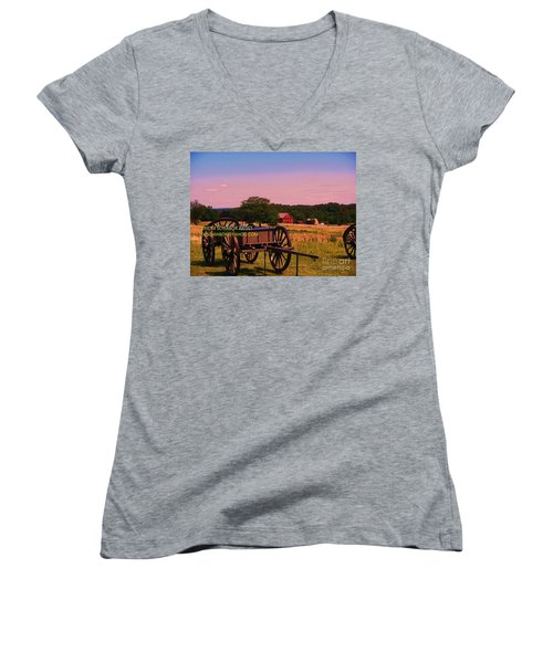 Civil War Caisson At Gettysburg Women's V-Neck T-Shirt (Junior Cut) by Eric  Schiabor