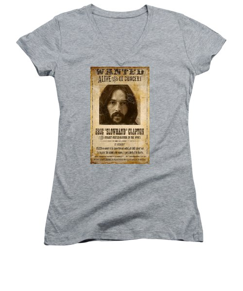 Clapton Wanted Poster Women's V-Neck (Athletic Fit)