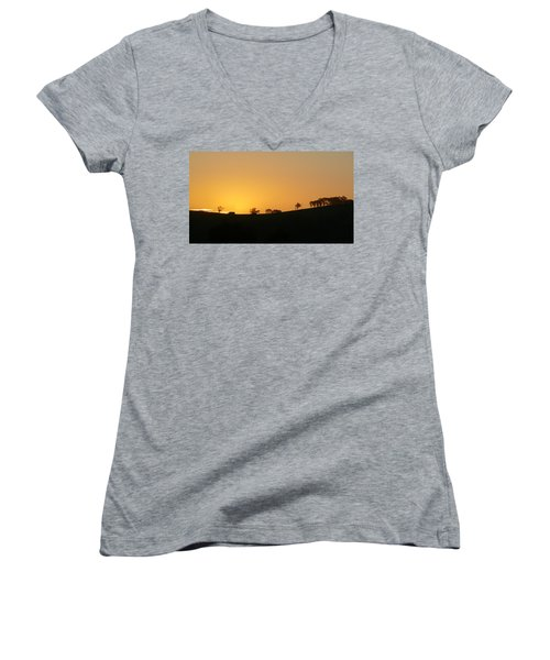 Women's V-Neck T-Shirt (Junior Cut) featuring the photograph Clarkes Road by Evelyn Tambour