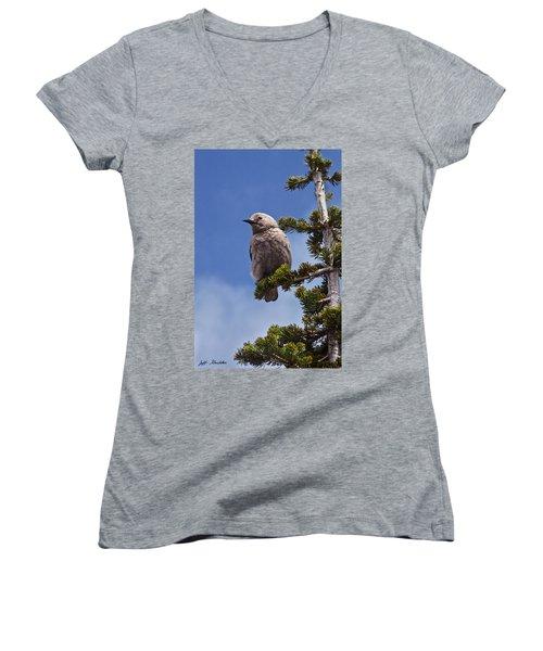Clark's Nutcracker In A Fir Tree Women's V-Neck T-Shirt (Junior Cut) by Jeff Goulden