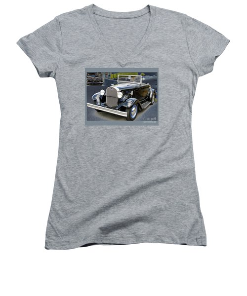 Women's V-Neck T-Shirt (Junior Cut) featuring the photograph Classic Ford by Victoria Harrington