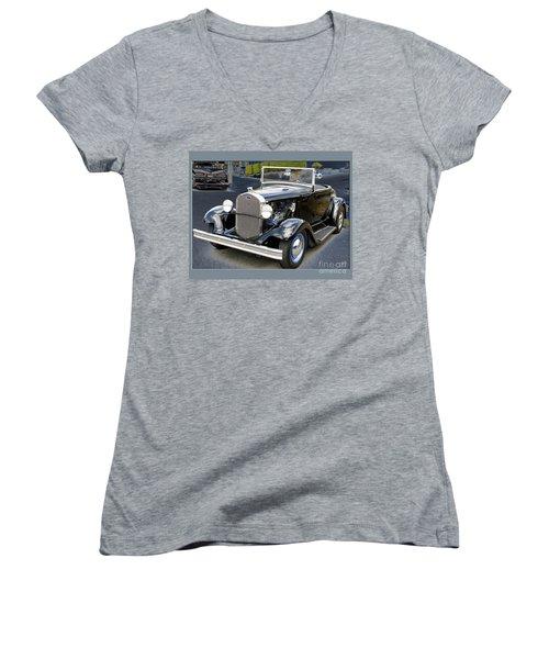 Classic Ford Women's V-Neck T-Shirt (Junior Cut) by Victoria Harrington