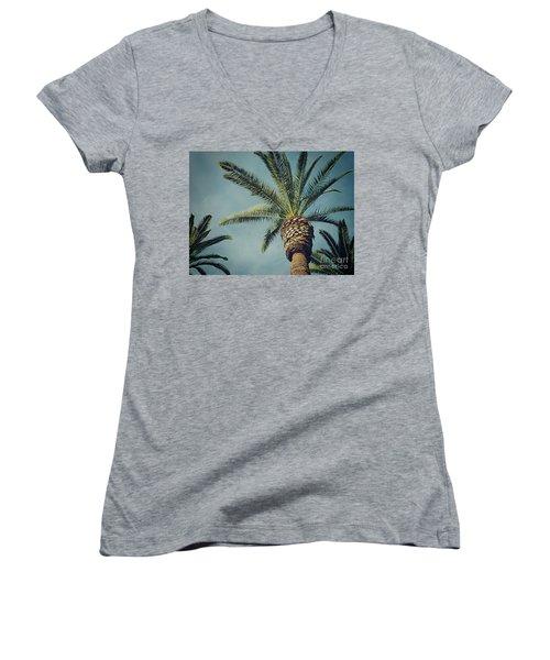 Women's V-Neck T-Shirt (Junior Cut) featuring the photograph Classic Palms2 by Meghan at FireBonnet Art