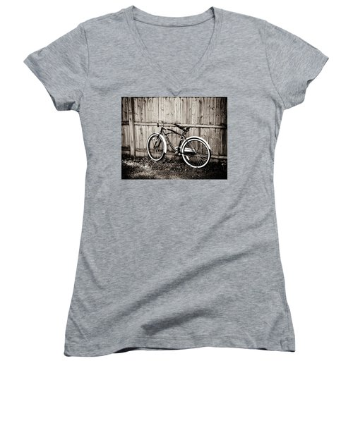 Women's V-Neck T-Shirt (Junior Cut) featuring the photograph Classic Ride by Sara Frank