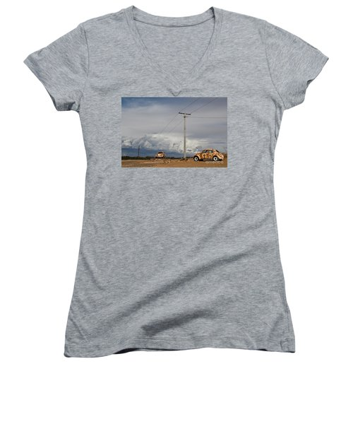 Women's V-Neck T-Shirt (Junior Cut) featuring the photograph Classic Volkswagen Beetle by Lana Enderle