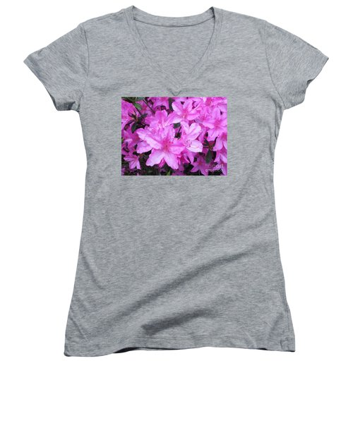 Women's V-Neck T-Shirt (Junior Cut) featuring the photograph Azaleas by Donna Dixon