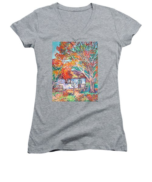 Claytor Lake Cabin In Fall Women's V-Neck T-Shirt (Junior Cut) by Kendall Kessler