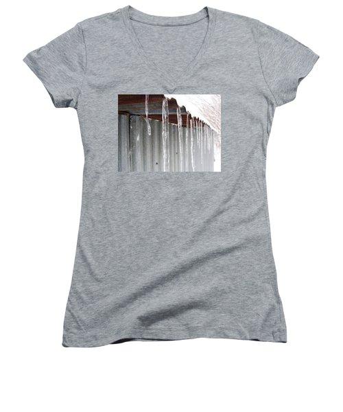 Women's V-Neck T-Shirt (Junior Cut) featuring the photograph Clear As Glass by Tiffany Erdman