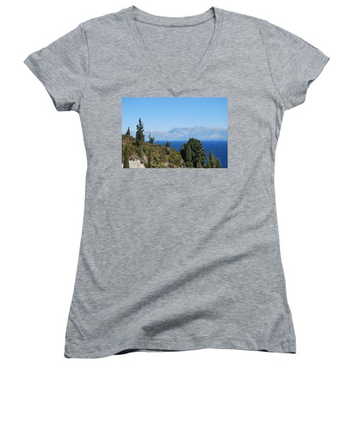 Women's V-Neck T-Shirt (Junior Cut) featuring the photograph Clear Day by George Katechis