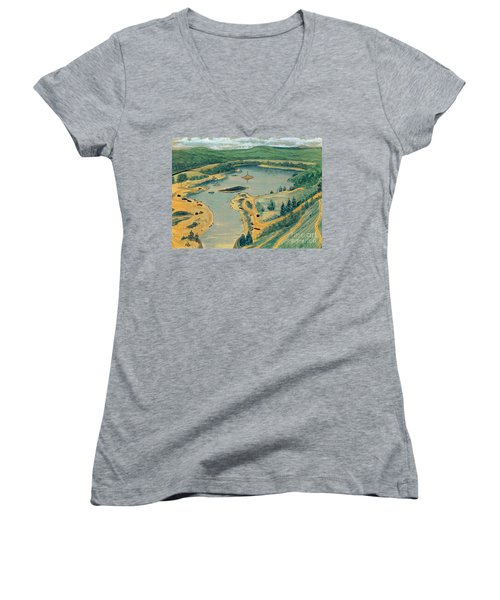 Women's V-Neck T-Shirt (Junior Cut) featuring the painting Clearwater Lake Early Days by Kip DeVore