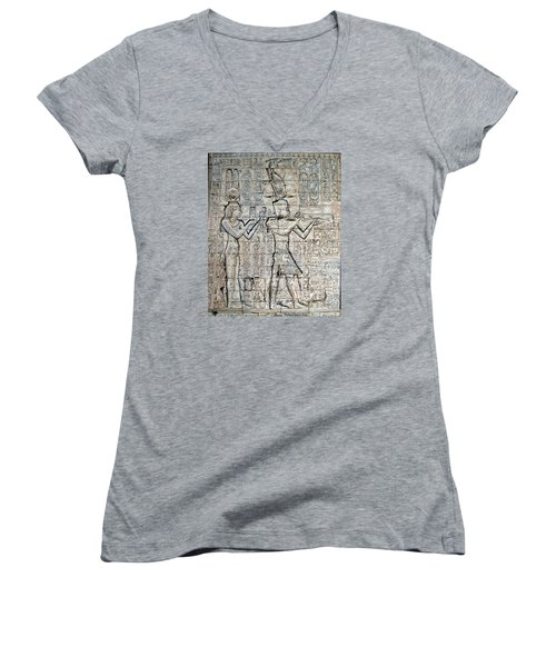 Cleopatra And Caesarion Women's V-Neck T-Shirt (Junior Cut) by Leena Pekkalainen