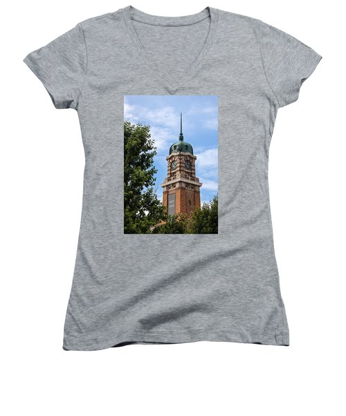 Women's V-Neck featuring the photograph Cleveland West Side Market Tower by Dale Kincaid