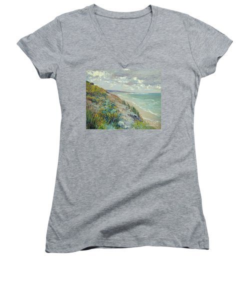 Cliffs By The Sea At Trouville  Women's V-Neck