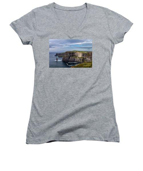 Women's V-Neck T-Shirt (Junior Cut) featuring the photograph Cliffs Of Moher I by Juergen Klust
