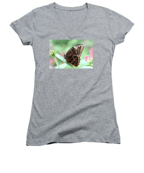 Closed Blue Morpho Women's V-Neck T-Shirt (Junior Cut) by Denyse Duhaime