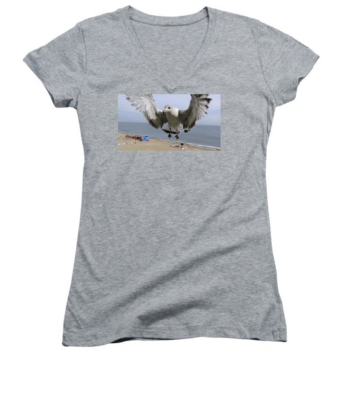 Closeup Of Hovering Seagull Women's V-Neck T-Shirt (Junior Cut) by Richard Rosenshein