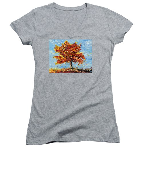 Women's V-Neck T-Shirt (Junior Cut) featuring the painting Clothed With Joy by Meaghan Troup