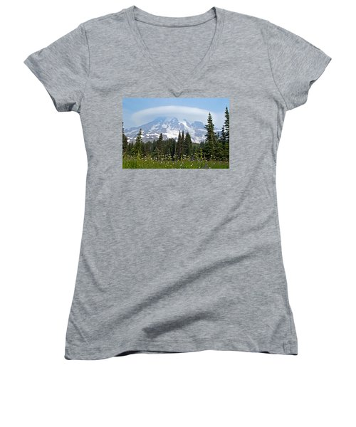 Cloud Capped Rainier Women's V-Neck (Athletic Fit)