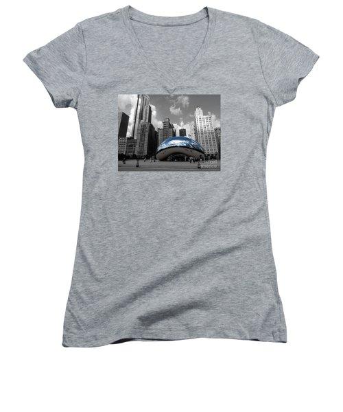 Cloud Gate B-w Chicago Women's V-Neck T-Shirt (Junior Cut) by David Bearden