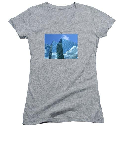Women's V-Neck T-Shirt (Junior Cut) featuring the photograph Cloud Mirror by Ann Horn