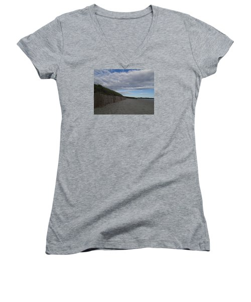 Women's V-Neck T-Shirt (Junior Cut) featuring the photograph Clouded Beach by Robert Nickologianis