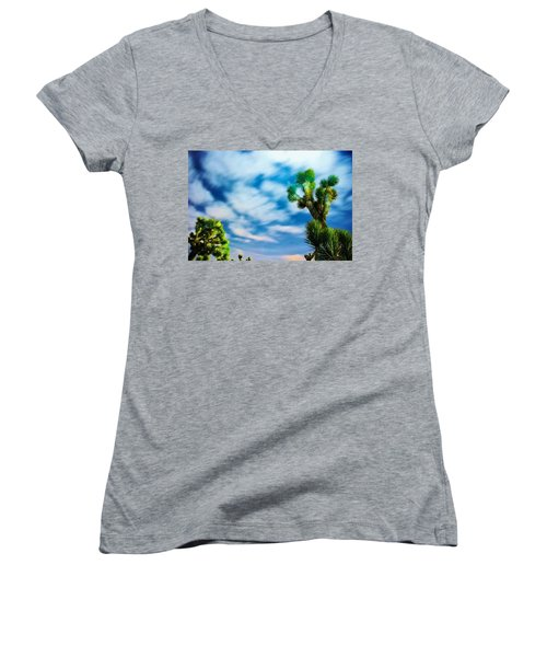 Women's V-Neck T-Shirt (Junior Cut) featuring the photograph Clouds On The Move by Angela J Wright
