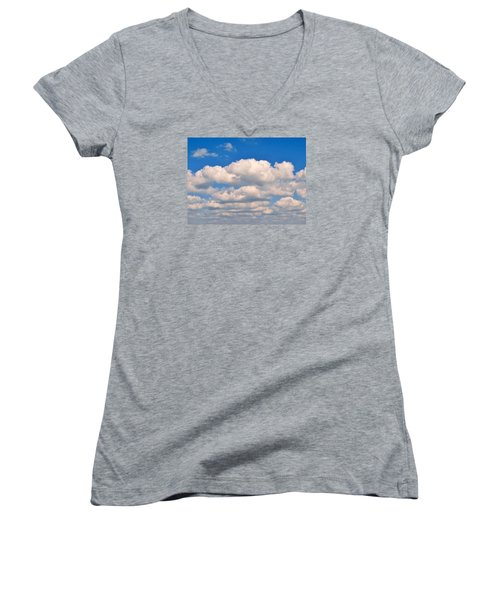 Clouds Over Lake Pontchartrain Women's V-Neck T-Shirt (Junior Cut) by Deborah Lacoste
