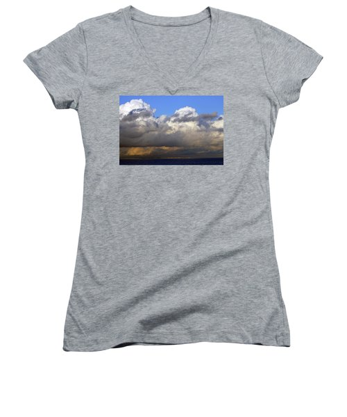 Clouds Over Portsmouth Women's V-Neck T-Shirt (Junior Cut) by Tony Murtagh