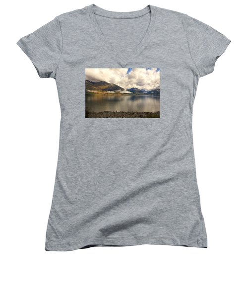 Women's V-Neck T-Shirt (Junior Cut) featuring the photograph Clouds Over Wakatipu #1 by Stuart Litoff