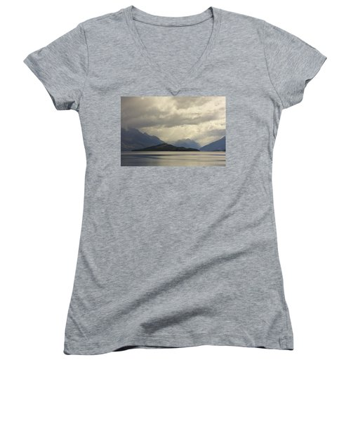 Women's V-Neck T-Shirt (Junior Cut) featuring the photograph Clouds Over Wakatipu #2 by Stuart Litoff