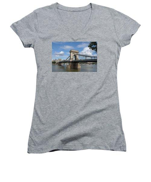 Clouds Sky Water And Bridge Women's V-Neck T-Shirt (Junior Cut) by Caroline Stella